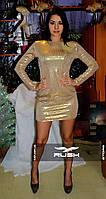 Клубное мини-платье пайетки с вырезом на спине