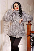 Искусственная норковая серая шуба, норковый полушубок серого цвета с капюшоном, купить шубы из эко меха фото