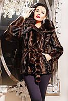 Молодежная шубка из эко-меха под норку, норковый полушубок коричневого цвета с капюшоном, купить шубу недорого