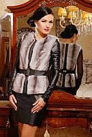 Стильный серый меховой женский жилет из эко-меха под норку с кожаными вставками, женский жилет из норки