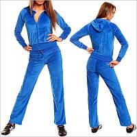 Синий велюровый спортивный костюм женский с капюшоном