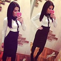 Деловое платье белый верх черная юбка