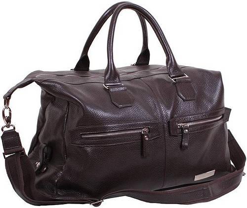 Дорожная кожаная сумка 25 л. VIP COLLECTION, арт. 1604B flat коричневая