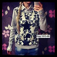 Женский свитшот на флисе с имитацией рубашки (обманка) (Турция)