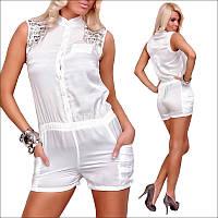 Белый женский комбинезон без рукавов, Застежка на пуговицах, аккуратная отделка и резинка на талии