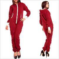 Теплый комбинезон женский бордового цвета, Смежной карманчик, застежка - молния