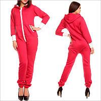 Теплый комбинезон женский - розового цвета, смежной карманчик, застежка - молния