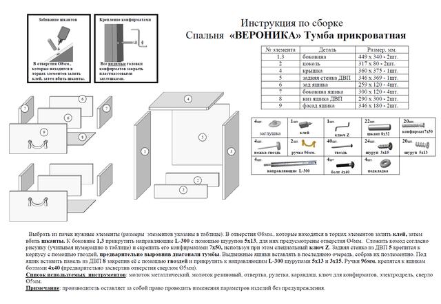 Инструкция по сборке тумба
