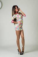 Платье в цветочек с неоновыми розовыми кармашками 1134  а.и