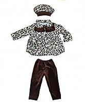 Комплект пальто, штаны и берет леопардовое
