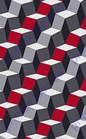 """Коврик Флорида """"3D квадраты"""", цвет серый с красным. Купить ковер Киев недорого"""