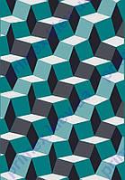 """Коврик Флорида """"3D квадраты"""", цвет бирюза с серым. Ковры California купить"""