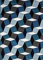 """Коврик Флорида """"3D квадраты"""", цвет синий с серым. Купить ковер Киев недорого"""