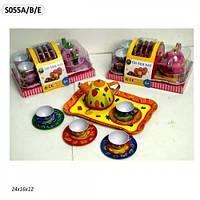 Посуда металлическая 055A/B/E  чайник, чашки, тарелки, разнос