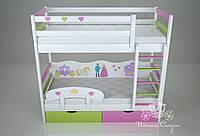 """Кровать двухъярусная детская """"Принцесса"""""""