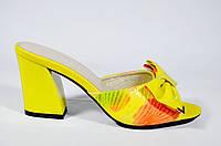 Кожаные женские босоножки шлепанцы на устойчивом каблуке Solange