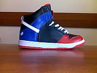 Кроссовки мужские спортивные 008 black white blue red, на шнуровке, высокие, модные, размеры 42-44,5