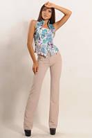 "Бежевые женские брюки  из стрейч-костюмки ""Классик"""