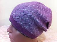 Вязаная шапка с геометрическим орнаментом