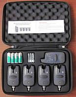 Набор сигнализаторов поклевки FA-209 с беспроводным пейджером (4 сигнализатора поклевки + кейз) 200 м