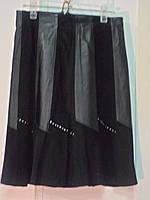 """Юбка кожаная с замшевыми вставками""""Турция""""цвет черный и коричневый-стильная длина 55 см .36р;38;40"""