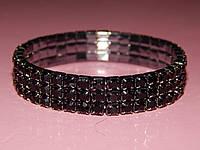 Браслет дорожка из камней в три ряда, черные стразы 300436