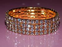 Браслет дорожка из камней в четыре ряда, белые стразы золотистый металл 300438