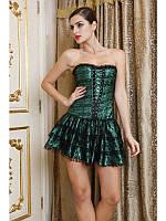 Женский комплект корсет с юбкой LEAKSA. Комплект из корсета и юбки изумрудного цвета V8007G