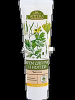 Крем для рук и ногтей увлажняющий и антисептический (Чистотел) - Зеленая Аптека  100мл.