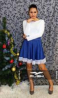 Платье с кружевом и юбкой клеш