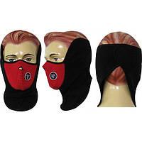 Маска полулицевая ветрозащитная для лица и шеи красно-черная