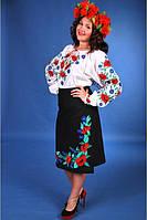 Костюм народний жіночий. Плахта, юбка, вишиванка, рубашка. Маки та волошки