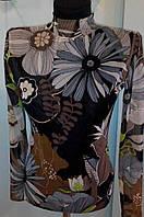 Водолазка - гольф коричнево-черная с большими цветами  с длинными рукавами