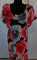 Свободное платье-туничка сеточкой в красно-серые розы