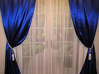 Готовые атласные шторы Электрик, глубокий синий