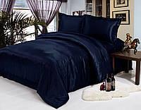 Комплект постельного белья Атласное темно синее