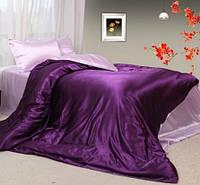 Комплект постельного белья Атласное фиолетово розовое