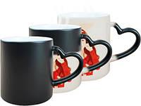 Чашки-хамелеоны с фото с ручкой в форме сердца