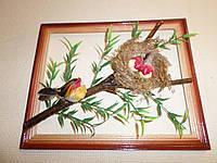 Декоративная рамка с птичками и гнёздышком на ветке