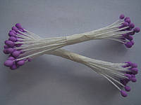 Тычинки для цветов сиреневые круглые 25шт.(код 00494)