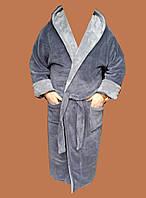 Халат подростковый махровый (TM Rojin) серый с серым
