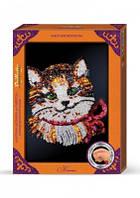 """Картина-мозайка из пайеток в декорированной рамке """"Котик"""""""
