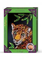 """Картина-мозайка из пайеток в декорированной рамке """"Леопард"""""""