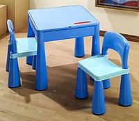 Комплект детской мебели стол 2в1 и 2 стульчика Tega Mamut голубой, подходит для Lego