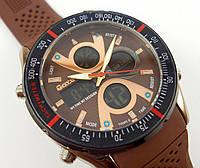 Часы O.T.S. T8110G коричневые с черным мужские водозащитные противоударные