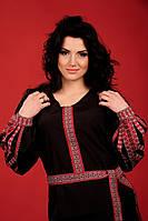 Вышиванка женская на чёрном домотканом полотне. Жіноча блуза Модель:ЖБ-57-119
