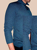 Вязаный мужской свитер машинной вязки с воротником-поло