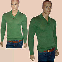 Вязаный мужской свитер оливкового цвета с шалевым воротником