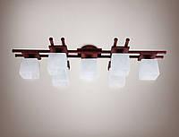 Люстра 7-ми ламповая, металлическая, деревянная, зал