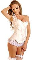 Женский корсет LEAKSA Белоснежный атласный корсет с декором из цветов V5812W